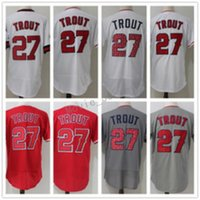 Wholesale Wholesale Star David - 2018 Men's 27 Mike Trout sTar cool base flex fast free shipping Embroidery Logos 100% Stitched