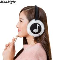 musikpelz großhandel-Ohrenschützer Musik Ohrenschützer Kopfhörer Wärmer Ohrenschützer Kunstpelz Ohrenschützer Plüsch Kopfhörer Weiche Wärmer Frauen Mädchen Winter