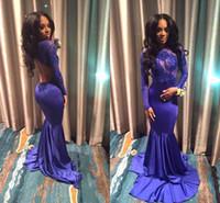 ingrosso abiti da sera viola neri-2018 African Purple Purple Mermaid Prom Dresses Black Girls Lace Applique Illusion maniche lunghe Backless abito da sera formale partito