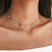 boho silver necklaces großhandel-Mode Lange Halsketten 2018 Sommer Neue Böhmen Stil Gold Silber Farbe Stern Mond Halskette Frauen Boho Anhänger Halsband Schmuck G2