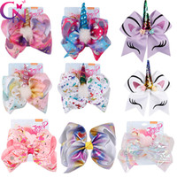 Wholesale large bows for hair - 8 Inch Jojo Siwa Hair Bows Jojo Bows With Clip For Baby Children Large Sequin Bow Unicorn hair Bows