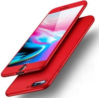 Wholesale cellphone glasses - For Iphone X 8 7 6 plus All Inclusive Phone Case With Tempered Glass Phone Cover Mobile Cellphone