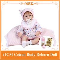 Wholesale baby full month gift - 42CM New style Reborn Bebe babies dolls with magnet pacifier full handmade newborn baby doll baby educational toys girls gift