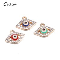Wholesale christmas wall decorations for glass - Lucky Turkish Blue Glass Evil Eye Charms 17*10mm Connectors Trendy Hanging Charms Car Office Wall Home Decoration For Jewelry Making