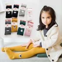 Wholesale cotton cute children tights resale online - Girls Tights pantyhose kids cute fox penguin embroidery leggings Warm child cartoon animal tights girl cotton princess bottoms pants