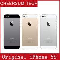 Wholesale Iphone 5s Cellphones - Origial screen Unlocked Iphone 5S refurbished 16GB 32GB 64GB Storage 8MP Camera GSM WCDMA LTE IOS Multi-Language Cell phone Free Shipping