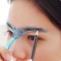 ingrosso strumento di formatura dello stencil del modello sopracciglio-Sopracciglio Stencil Modellatura Grooming Eye Brow Make Up Modello Template Riutilizzabile Design Sopracciglia Strumento per lo styling (colore casuale)
