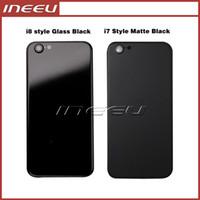 iphone logement de remplacement noir achat en gros de-Logement de couverture arrière noir pour iPhone 6 6s comme 7 en aluminium en métal Retour de couvercle de la porte de la batterie à l'iPhone 8 style noir mat
