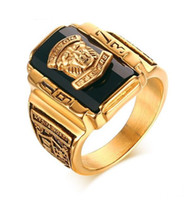 Wholesale black stainless steel engagement rings for sale - Group buy Stainless Steel Red black green blue Rhinestone Walton Tigers Signet Ring for Men K Gold Plated Size