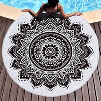 grande tapisserie achat en gros de-Mandala bohème Tapisserie Plage Jetée Grande serviette de plage ronde Tapis de pique-nique Couverture Tapis de piscine Tapisserie Décoration Tapis de Yoga