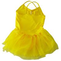 ingrosso giallo balletto-Girl Ballet Dance Dress Gymnastic Body Straps Tutù 5-6 anni - Giallo