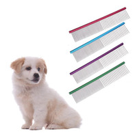 Wholesale purple trim - Dog Puppy Grooming Comb Dog Stainless Steel Clean Brushes Pin Hair Trimmer Comb Shedding Hair Cleaning Grooming Tool OOA5173