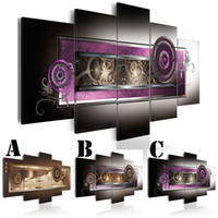 Wholesale canvas painting set two - Wall Art Picture Printed Oil Painting on Canvas Two Wreaths Unframed Multi-picture Combination 5pcs set Home Decor Extra Mirror Border