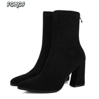 осенние насосы оптовых-Women High Heel Boots Female Black Thick Heel Ankle Boots Women Footwear Lolita Shoes Woman Autumn Party Pumps Botas Mujer