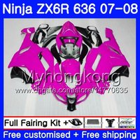 ingrosso zingere dentellare zx636-Bodys For KAWASAKI NINJA ZX-636 ZX600 ZX636 ZX-6R 07 08 209HM.41 ZX 636 6 R 600CC ZX6R 07 08 Carrozzeria ZX 6R Glossy pink 2007 2008 Carenatura