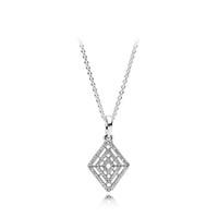 geometrik zincir toptan satış-Orijinal 925 Ayar Gümüş Geometrik Kolye Kolye Zinciri Fit Pandora Charms Kutusu ile Kristal Elmas Kolye Takı