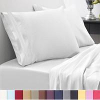 3d bedding set toptan satış-12 Renkler Mısır 1800 Sayısı Ikiz ~ Califonia Kral Boyutu Yatak Setleri Derin Cep Çarşaf Kraliçe Yatak Takımları Kral Yorgan Set