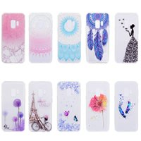 Wholesale Custom Iphone Paint - for samsung s9 s8 plus note 8 phone case Back Cover Shell Soft TPU painting Embossed Transparent Design custom for iphone x 8 7 6s 6 plus