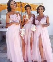 vestidos de casamento africa venda por atacado-África do país vestidos de dama de honra 2018 a line chiffon dress side dividir cap manga apliques de casamento do jardim vestidos de hóspedes maid of honor dress