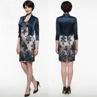 Wholesale Mother Pearl Flower Buttons - godmother dresses Sleeves Vestidos Madrinha plus size lace short Mother of the Bride Dresses with jacket 2018 Godmother