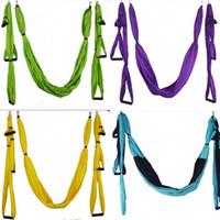 yoga swing оптовых-Воздух летающий йога гамак воздушные йога гамаки пояс фитнес качели крытый на открытом воздухе прочные ремни для фитнеса здоровый 75sh дз