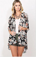 schwarze blüten-chiffon-bluse großhandel-Bohemia Frauen Blumendruck Chiffon Kimono Top Cardigan Jacke Bluse schwarz S M L