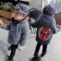 Wholesale big boys outfits - Boys Autumn Winter Coat Hooded Big Mouth Cartoon Print Thick Double-breasted Outwear Baby Boy Outfit 2-6T