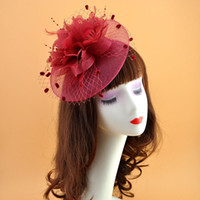 saçları büyüleyici şapkalar toptan satış-Kadın Moda Parti Fascinator Saç Aksesuarı Tüy Klip Şapka Çiçek Lady Peçe Günlük Tokalar Ücretsiz Kargo