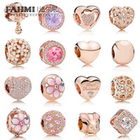 Wholesale cherry blossoms love for sale - Group buy FAHMI Sterling Silver Charm Rose Gold Beads Cherry Blossoms Rabbit Heart Shaped Temperament Exquisite Fashion Ladies Jewelry
