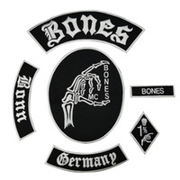 Wholesale clothing patches for sale resale online - Hot Sale Bone Skull Embroidered Patch Full Back Size for Jacket Iron On Clothing Biker Vest Patch Rocker Patch Free Ship