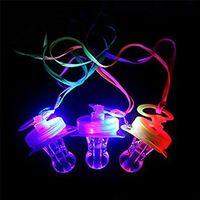yumuşak oyuncak parıltı toptan satış-2020 yeni LED emziği Düdük Yanıp sönen LED emziği kolye kolye Yumuşak Işık Up Oyuncak Parlayan RGB Stil 4 Renkler Blister Ambalaj