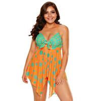 c27b340a04 Plus Size Swimwear Orange Blue Polka Dot Print Tankinis Swimsuit Women  Bathing Suits Beach Dress Swim Wear