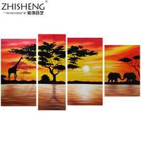 afrikanischen landschaftsmalereien großhandel-Dekoration Afrikanischer Elefant Ölgemälde Wanddekor Giraffe Sonnenuntergang Landschaft Leinwand Malerei Multi Panel Handgemalte 4 stücke Set