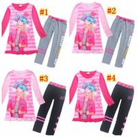 Wholesale childrens clothes online - 2018 Pajamas for Girls Long Sleeve Dresses Cotton Pants Jojo Siwa Clothing Set Childrens Fancy Dress Trolls Teens Clothes MMA907