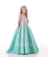 Wholesale beauty pageants for sale - Beauty Green Blue Satin Jewel Applique Flower Girl Dresses Girls Pageant Dresses Holidays Birthday Dress Skirt Custom Size DF710347