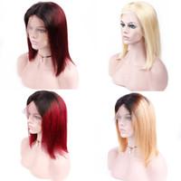 gri kısa saç perukları toptan satış-Ön Koparıp Düz Kısa Bob Peruk Siyah Kadınlar Için Brezilyalı Remy Saç Dantel Ön İnsan Saç Peruk T1B / 27 T1B / Burg T18 / Gri # 613 Sarışın