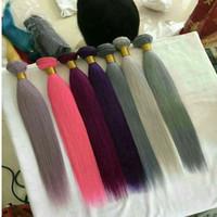 Wholesale customized weave hair for sale - Group buy Colorful Virgin Brazilian Hair Bundles Human Hair Weaves Straight Weft Customized Human Hair Extensions Bulk order price