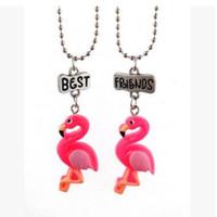 kırmızı kuş çizgi filmi toptan satış-Kırmızı Flamingo kolye Kolye Kadınlar Için Kırmızı-taçlandırılmıştır Kolye Karikatür Hayvan Kuş Gerdanlık Kolye Best Friends Kolye
