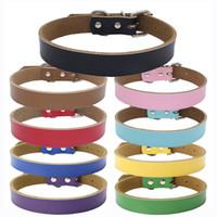 ingrosso collare di cane di grande corda di cuoio-Collare per cani in pelle pura pelle bovina collare per cani da compagnia catena di trazione corda per cani Accessores 6 colori XS-S-M-L-XL WX9-1041