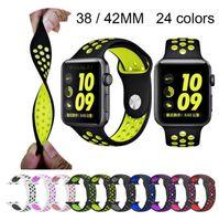 montre de sport de bracelet de silicone achat en gros de-Bracelet en silicone pour bracelet de montre Apple Watch 42mm Bracelet pour bracelet de montre Apple Bracelet en caoutchouc iwatch 4/3/2/1 Bracelets sport 38MM