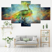 Wholesale peacock painting framed - Canvas Wall Art Modular Frame Prints Pictures 5 Pieces Natural Peacock Paintings Fantasy Space Sky Poster Living Room Home Decor