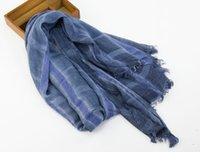 Wholesale Gray Plaid Scarf - 2017 Wholesale Brand Winter Scarf Men Warm Soft Tassel Bufandas Cachecol Gray Plaid Woven Wrinkled Cotton Men Scarves