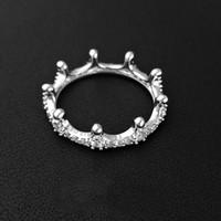 zirkon kristal yüzükler toptan satış-Lüks 925 Ayar Gümüş Kristal Zirkon Taş Taç Yüzük Pandora Gümüş Takı için Orijinal kutusu Nişan düğün Severler çift Yüzük