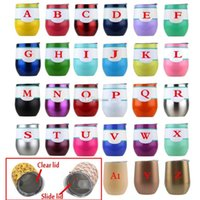 Wholesale clear travel cup - 9oz Egg Cup Wine Glass stainless steel tumbler stemless vacuum Travel Thermos with Lid Wedding Party Kid Coffee Mug