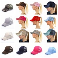 Wholesale glitter girl - CC Ponytail Baseball Cap 26 Styles Messy High Bun Ponytail Adjustable Glitter Ponytail Hats Kids Caps OOA5120