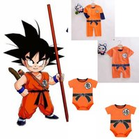 Wholesale baby dragons - Baby Romper Goku Dragon Ball Z Cartoon Infant Toddlers Jumpsuit Cosplay cartoon r baby clothes 0-2 year KKA4785