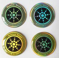 etiquetas engomadas anti de la radiación del teléfono móvil al por mayor-Etiqueta redonda dorada para teléfono móvil con iones negativos Escudo antirradiación Energía Energía Etiquetas de teléfono Escudo cuántico
