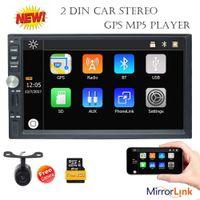 7 'gps navigasyon toptan satış-Eincar 7 '' Çift Din Araba Stereo Bluetooth GPS Navigasyon MP5 Çalar Radyo Ayna Bağlantı USB 1080 P Video Oynamak AUX FM AM SWC kamera