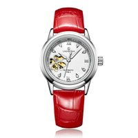 senhoras trevo relógio venda por atacado-Relógios de marca de relógios mecânicos automáticos casuais das mulheres branco vermelho dial oco senhoras pulseira de aço inoxidável esportes feminino trevo wristwa