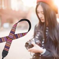 Wholesale sling belt for dslr online - Retro Style Camera Strap Belts Cotton Yard Pattern Neck Sling Straps Colorful Shoulder Hand Strap for DSLR
